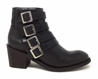 Five World By Cordani Womens Sancho Buckled Western Ankle Boot Black Leather 5 M • 35.16£