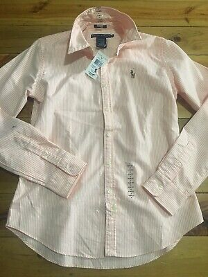 AU35 • Buy Ralph Lauren Ladies Apricot And White Ladies Striped Long Sleeve Shirt New