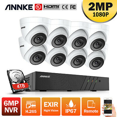 ANNKE 8CH 6MP H.265+NVR HD 1080P Dome Outdoor IP CCTV Camera Securty POE System • 229.99£