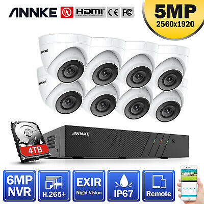 ANNKE 6MP Video H.265+ 8CH NVR Dome 5MP CCTV Outdoor IP Camera Security POE Kit • 459.99£