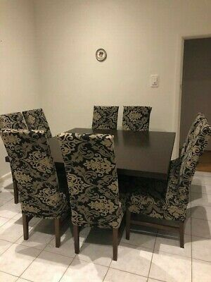 AU1 • Buy Modern Contemporary Dark Brown Square Dining Table With 8 Highback Dining Chairs