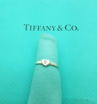 Tiffany & Co Paloma Picasso Sterling Silver Diamond Heart Band Ring Size H 1/2 • 247.99£