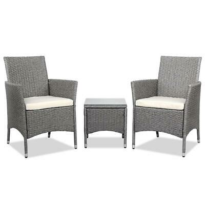AU276.95 • Buy 3 Piece Wicker Outdoor Chair Side Table Furniture Set - Grey