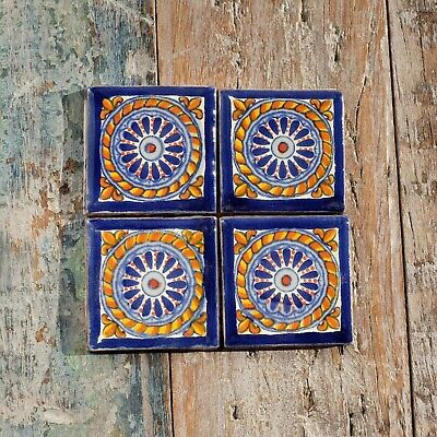 4 Ceramic Mexican Tiles SMALL SIZE 5 x 5 cms LACE VERDE