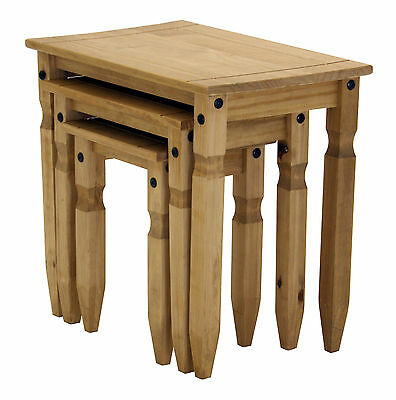 Corona Nest Of Tables Three Piece Set Lamp Side End Coffee Light Wax Solid Pine • 44.99£