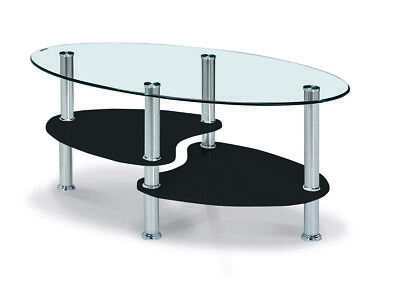 Coffee Table Clear Glass Oval Top Gloss White Black Natural Shelf Chrome Legs • 59.99£