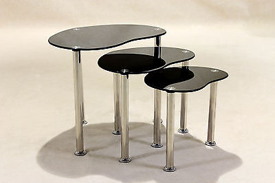 Nest Of Tables Black Glass Three Piece Set Lamp Side End Coffee Table Tube Legs • 54.99£