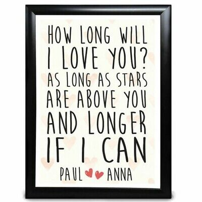 AU20.54 • Buy Personalised Anniversary Gifts For Her Him Wedding How Long Will I Love You