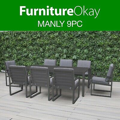 AU1899 • Buy Manly 9pc Aluminium Outdoor Dining Setting Patio Set Chairs Table Furniture