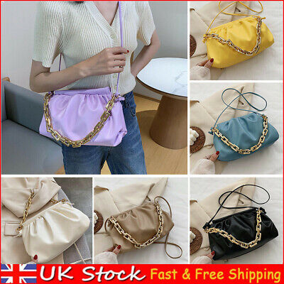 Women Pleated Shoulder Bag Chain Totes PU Female Cloud Messenger Handbag Totes • 7.44£