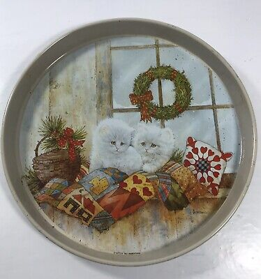 $ CDN26.72 • Buy Vintage Metal Christmas Tray Cookie Giftco White Kittens Quilt 1991 Giordano 12