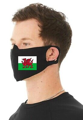 AU18.38 • Buy Welsh Flag Unisex 4 Ply Cotton Jersey Face Covering/Masks Wales/Flags