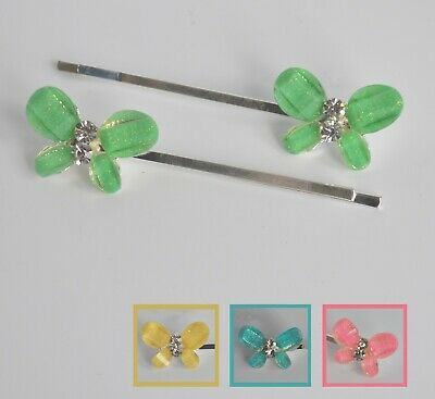 £3.20 • Buy Brightly Coloured Resin & Crystal Butterfly Kirby Hair Grips/slides/clips X 2 UK