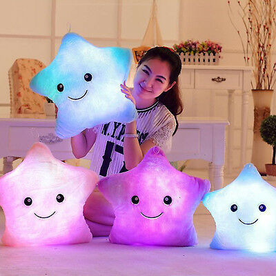 Stars Light Up Cushion Romantic Gift Sofa Bed Bedroom Plush Night Glow Soft Toys • 7.79£