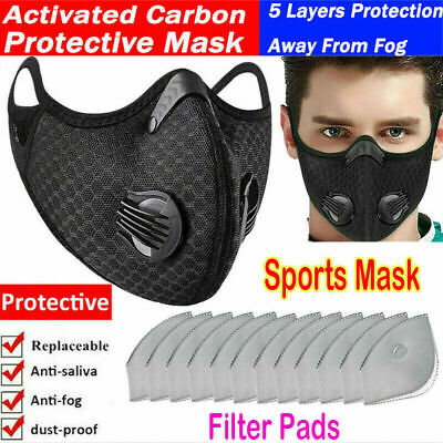$ CDN10.41 • Buy Sports Face Shield With Dual Exhuast Activated Carbon Breath Valves Pufiring Pad