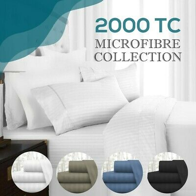 AU48 • Buy 2000TC Microfibre 1cm Stripe Single/KS/Double/Queen/King Fitted, Flat  Sheet Set