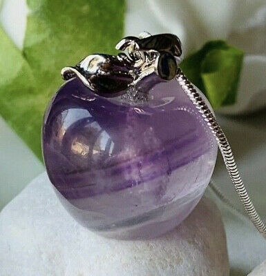 Real Amethyst Pretty Apple Stone Pendant On Long Snake Silver Chain Necklace UK  • 8.74£