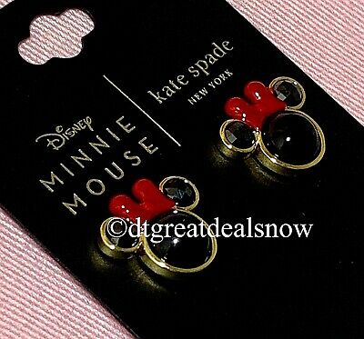 $ CDN65.31 • Buy NEW Kate Spade Disney For Minnie Mouse Studs Earrings Black / Red Gold Tone