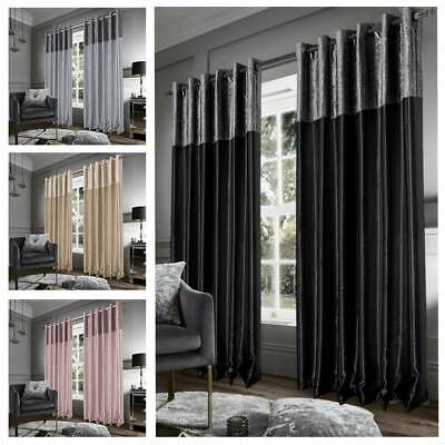 Blackout Crushed Velvet Band Curtains Eyelet Faux Silk Fully Lined Ring Top PAIR • 17.99£