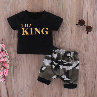 $11.39 • Buy Newborn Baby Boy Short Sleeve Romper Outfits Toddler Clothes Camouflage Pants