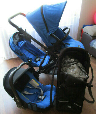 Blue Britax B Dual Double Pushcahir Buggy Pram + Car Seat + Raincover + Carrycot • 220£