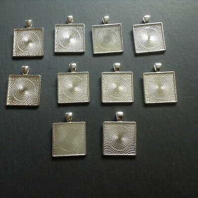 £7 • Buy 10 X 25 Mm Silver Plated Square Pendant Bezel Tray, Findings, Jewellery Making
