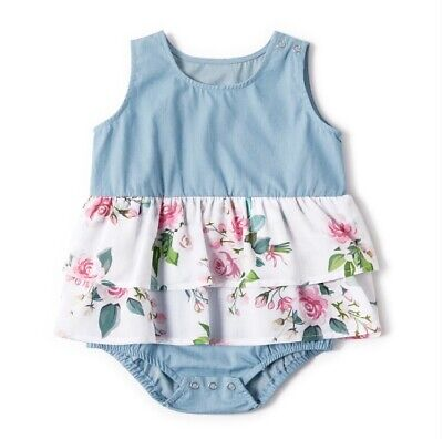 AU24.95 • Buy NEW Size 0-3 Months Baby Dress Pretty Floral Chambray Baby Romper Baby Clothes