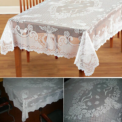 Vintage Lace Tablecloth Rectangle Round Table Cloth Cover Home Party Wedding UK • 9.55£