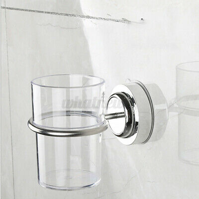 Stainless Steel Suction Type Toothbrush Tumbler Holder Bathroom Wall Cup Holder • 8.05£