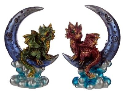 Red Baby Dragon on a Moon Decorative Ornament Mythical Magical Fantasy