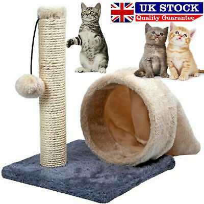 Blue Cat Kitten Play Sisal Scratch Bed Toy Fun Post With Tunnel Pet Activity UK • 9.95£