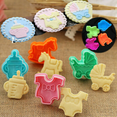£2.28 • Buy 4x Baby Shower Clothes Cookies Plunger Cutter Mould Fondant Cake Biscuit Mold