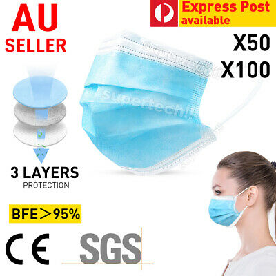 AU16.95 • Buy 50 Pcs Disposable Daily Protective Face Mask Anti Bacterial Filter 3 Layer
