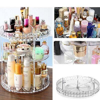 Adjustabl Makeup Organiser Storage Box Swiveling Cosmetic Display Shelf Rotating • 7.99£