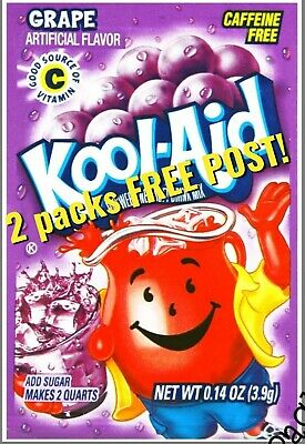 KOOL AID 2X 3.9G GRAPE 🍇 Sachet Packet FREE 📫 Makes 3.8 LITERS US 🇺🇸 IMPORT • 2.80£