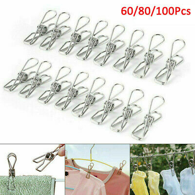 100pcs Stainless Steel Washing Line Clothes Pegs Hang Pins Metal Clips Clamps UK • 6.99£