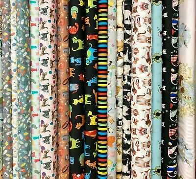 £2.85 • Buy Cats & Dogs Pets Paws Collies Kittens Puppies 100% Cotton Patchwork Fabric