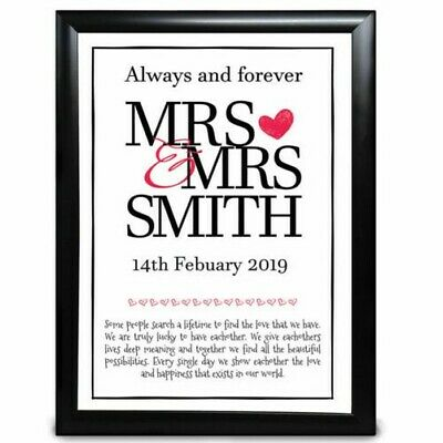 AU20.54 • Buy Personalised I Love You Mrs And Mrs Names Anniversary Valentines Day For Her Him