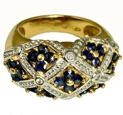 AU1645.11 • Buy 18K Yellow Gold Diamond Blue Sapphire Woven Dome Ring Forget-Me-Not Flower 6.75