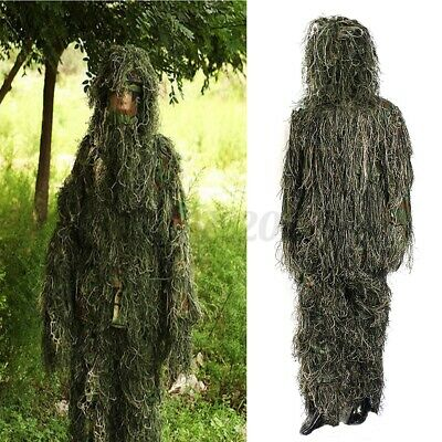 Camo Woodland Camo / Camouflage Hunting 3D Ghillie Burlap Suit Free Size Large ! • 26.81£