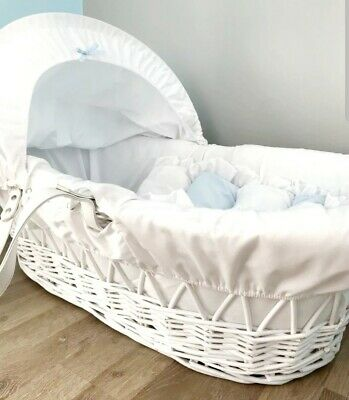 Boys White Blue Moses Basket Wicker Traditional Cot Bed • 19£