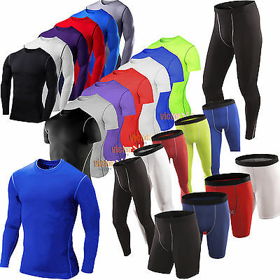 Men Solid Slim Base Layer Thermal Gym Tops T-Shirt Sports Leggings Shorts Pants • 6.93£