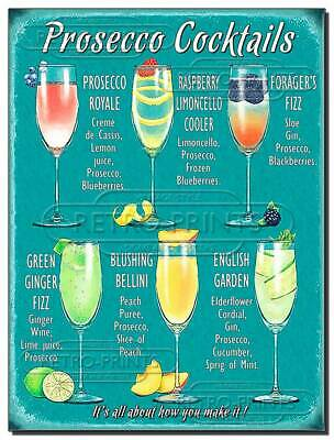 £4.95 • Buy Prosecco Cocktails Metal Wall Sign Plaque For Pub, Bar Man, Lady Cave NEW