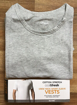 M&S Mens Cotton Stretch Cool And Fresh Grey Vest Medium ONE VEST ONLY IN PACK • 6.99£