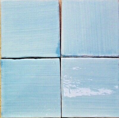 Caribbean Blue Hand Dragged 'Patine' Wall Tile 11x11cm From Provence France • 2£