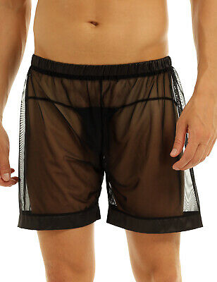 Summer Mens Breathable Shorts See Through Underwear Boxer Briefs Mesh Pants UK • 5.75£