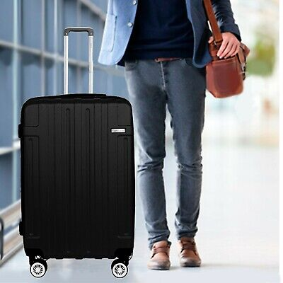 "View Details NEW Luggage Cabin Suitcase Set Carry On BLACK ABS Spinner Lightwheight 30""24""20"" • 66.00$"
