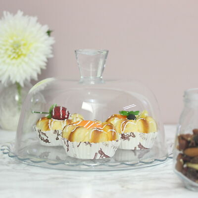 £11.95 • Buy Round Glass Cake Stand Display Rack Cupcake Holder Dome Lid Tea Wedding Party