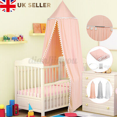 Kids Baby Bed Canopy Tent Princess Bedcover Mosquito Net Curtain Cotton Girls UK • 19.55£