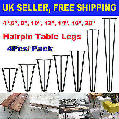 £14.80 • Buy 4 X Hairpin Metal Table Small Seat Coffee Cabinet Bench Legs 4  - 28  DIY Style